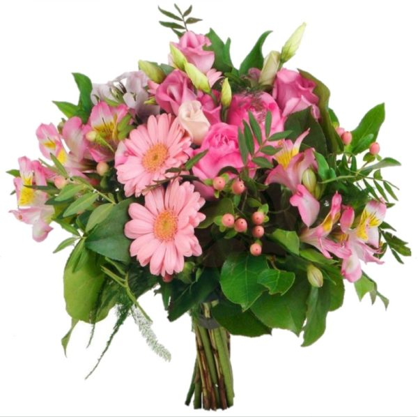 Bouquet di fiorellini rosa margheritine e gerbere