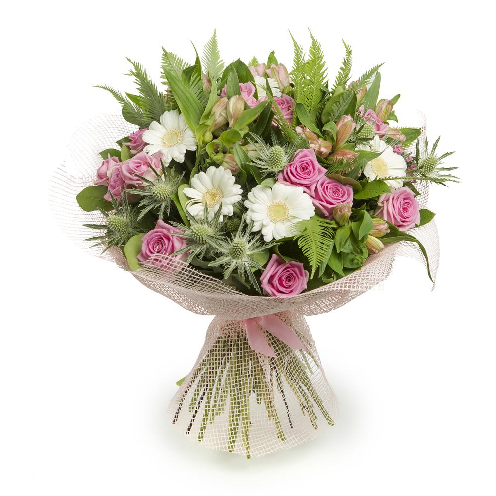 Bouquet di rose rosa e gerbere bianche