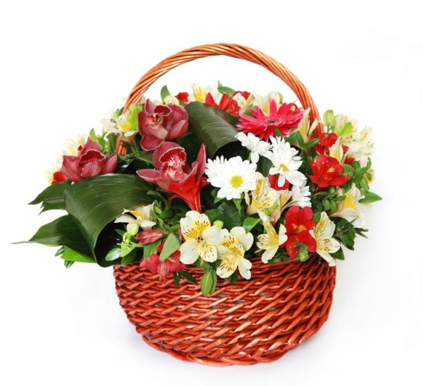 Cesto di fiori bianchi e rossi