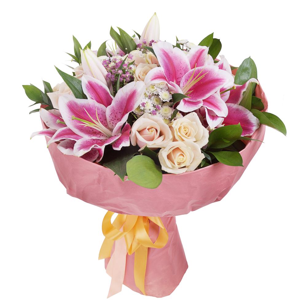 Mazzo Di Fiori E Rose.Bouquet Di Lilium E Rose Fioristaonline