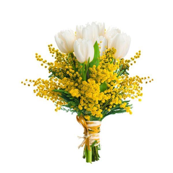 Mazzo di mimosa e tulipani